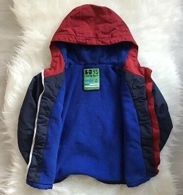 58233d8db NEXT BOYS NAVY Blue Red Fleece Lined Hooded Winter Coat Age 3-4 ...