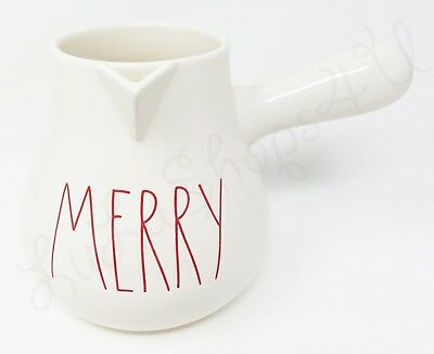 Rae Dunn ceramic hot chocolate cocoa pot MERRY as-is cracked red letter LL