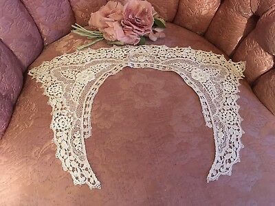 Antique French Lace Ladies Clothing Collar White Schiffli  Needlework A20t