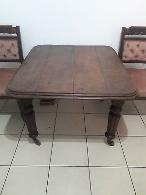 Lovely Early Victorian Oak Small Compact Turned Reeded Legs Dining Table -Poole