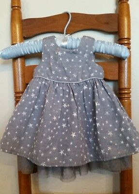 H&M Baby Girl Holiday Dress size 4-6 mos, Silver Stars Toddler Sparkle Party