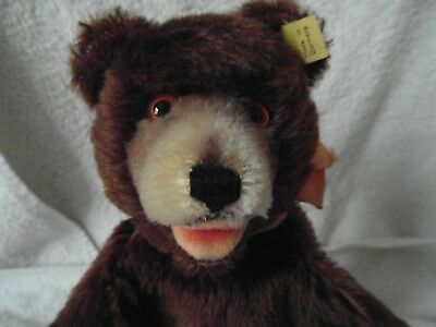 RARE WITH ALL IDs STEIFF EARLY 1929-43 TEDDY BABY BROWN MOHAIR HAND PUPPET MINT.