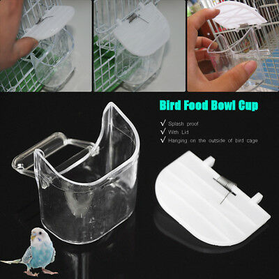 Clear White Lid Plastic Bird Feeder Bowl Water Food Countainer Hanging Cage