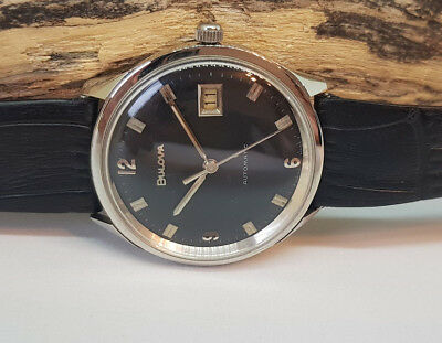 Used Vintage Bulova Black Dial Date Automatic Man's Watch