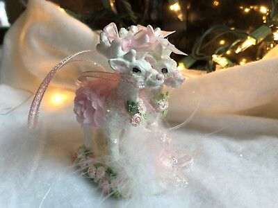 shabby pink chic victorian reindeer  christmas ornament   roses ,lace glitter