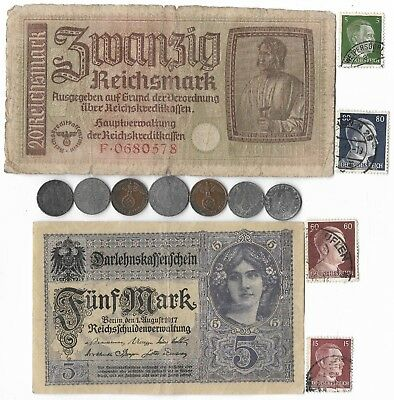 13 Rare Old Orig WWII Germany Great War Note Coin Stamp Collection Lot WW2 Relic