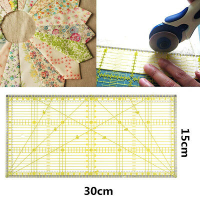 Square Acrylic Clear Grid Acrylic Quilting Templates Patchwork Ruler 30 x15cm