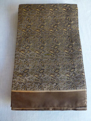 Japanese Vintage Maru Obi, Brown/Gold Foliage
