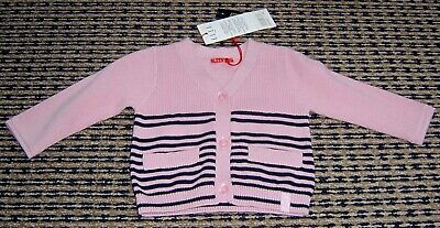 Elle French Designer Baby Girls Pink Cotton Cardigan Sz 3 Months New With Tags