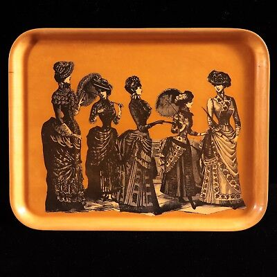 Mid-Century Modern molded bent plywood tray Victorian ladies decoupage