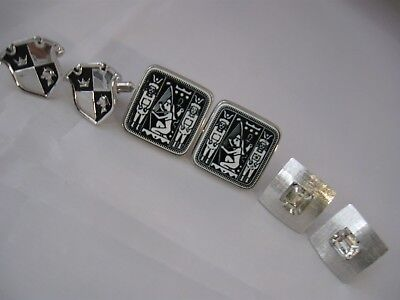 Vintage Fancy Silver Tone Cufflinks Signed Shields Coat of Arms, Medieval Crest