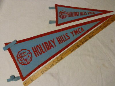 """Pawing, NY, Holiday Hills YMCA Camp Pair Felt Pennants, Camp Crest, 12"""" & 24"""" Ex"""