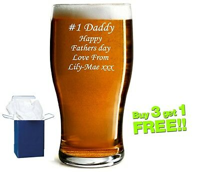 Personalised engraved pint beer glass Wedding Usher Daddy Birthday Free Gift box