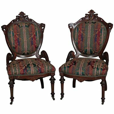 Pair of Renaissance Revival Carved Walnut Upholstered Parlor Side Chairs - PAIR OF ITALIAN Renaissance Revival Carved Armchairs Antique Chairs