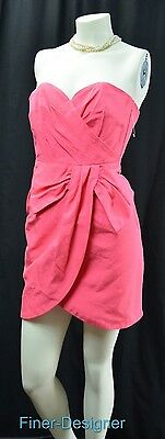 H&M Party Fuchsia Strapless Dress hot pink mini gown side bow mock wrap SZ 4 NEW