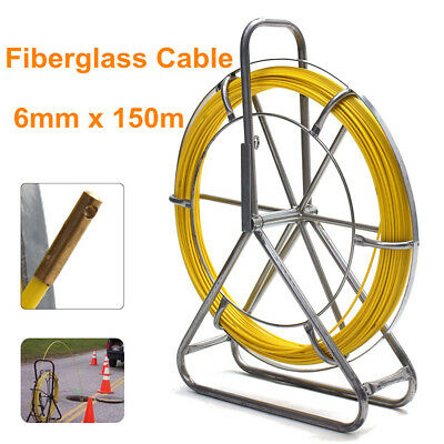 150m*6mm Running Rod Duct Puller Fiberglass Cable Electric Reel Wire Fish Tape