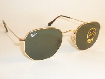 04edbeac75 New RAY BAN Hexagonal Flat Sunglasses Gold Frame RB 3548N 001 G-15 Lenses  54mm