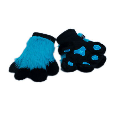PAWSTAR Pawmitts - Furry Hand Paw Gloves Fursuit Costume Teal Blue cat [TU]3180