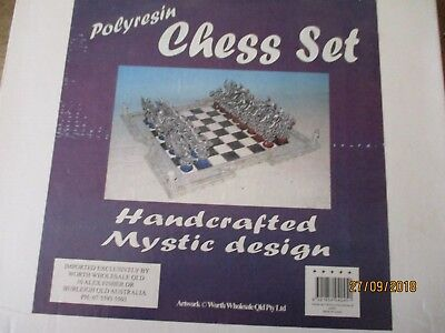 MYSTIC DESIGN Hand Crafted Chessmen Plus Chessboard .(Very Heavy)