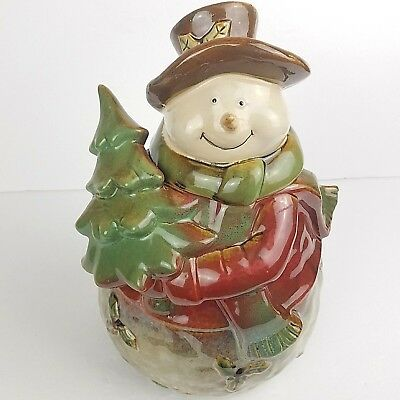 Primitive Woodland Snowman Cookie Jar Christmas Canister Country Ceramic