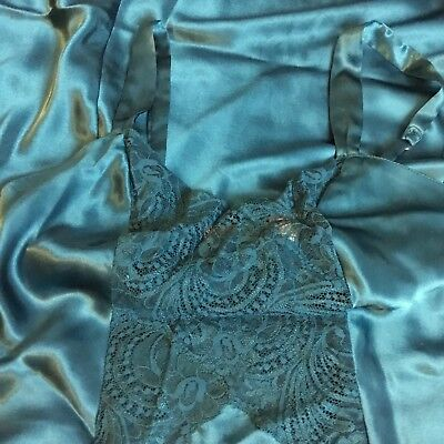 Victoria's Secret long satin teal night gown with side thigh slit and lace inser