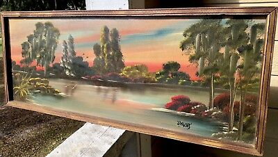 Vintage Livingston Roberts Original Highwaymen Florida Landscape Oil Painting