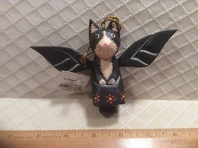 Wooden Black Cat With White Face Paws Angel Ornament