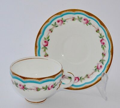 Antique SPODE Tea Cup and Saucer Set #1687 - Garland of Roses