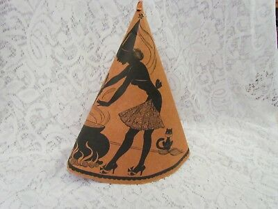 Vintage Made in USA Halloween Paper Hat with Pretty Witch, Cauldron & Black Cat