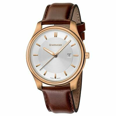 Wenger 01.1441.107 Men's City Classic Silver Dial Brown Leather Strap Watch