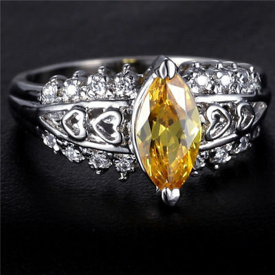 Natural 1.5CT Yellow Topaz Cute 5*10mm 14K White Gold Ring Size US7