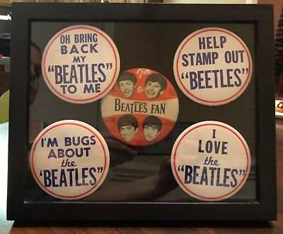 Beatles Vintage 1964 & 65 Pinback Buttons Lot of 5 in Shadowbox Frame Very Nice!