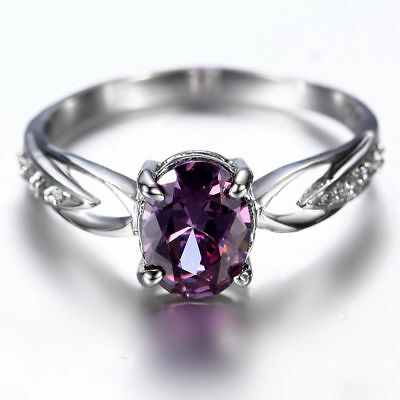 Handmade Natural 1.5CT Amethyst 6*8mm 14K White Gold Ring Size US7