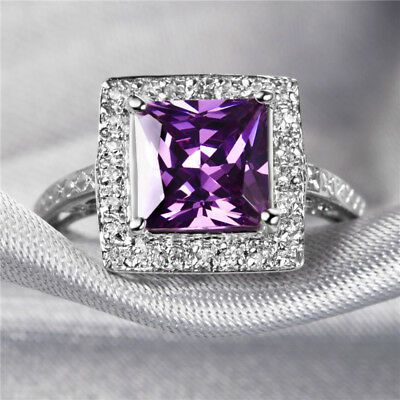 Handmake Natural 1.7CT Amethyst 8*8mm 14K White Gold Ring Size US7