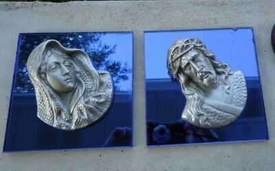 Vintage Catholic Religious Mirrored Blue Glass Plaques Wall Hangings Mary Jesus
