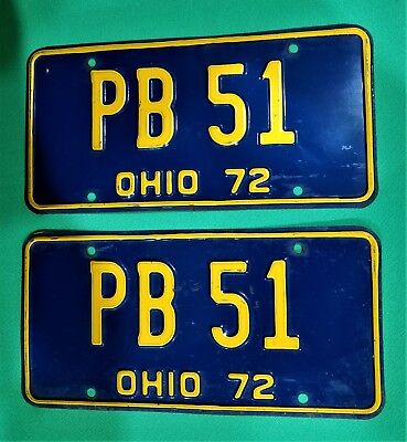 Very Nice Vintage Collectible 1972 Ohio License Plate Pair  Pb 51 Free Shipping