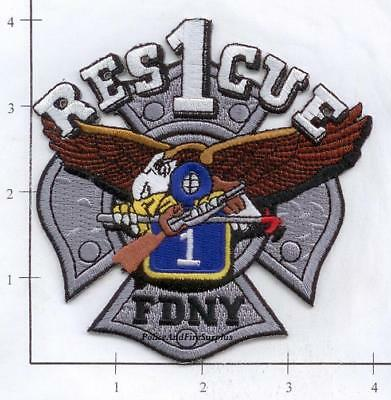 New York City Fire Dept Rescue 1 Patch Diamond Plate