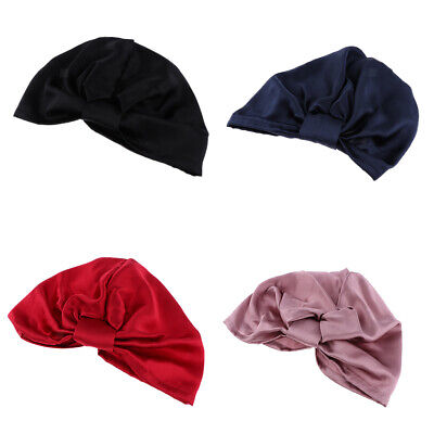 100% Pure Silk Sleeping Cap Sleep Hat Night Hair Styling Care Bonnet Wrap