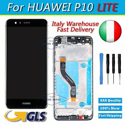 Per Huawei P10 Lite Lcd Display + Touch Screen + Frame Completo Assemblato Nero
