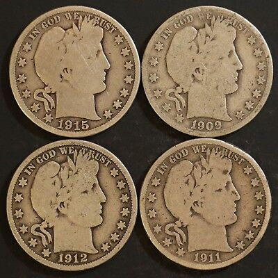 Circulated Barber Half Dollar Coin Lot (4) -  1909S, 1911, 1912, 1915D - Lot BH5