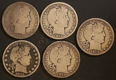 Circulated Barber Half Dollar Coin Lot (5) -  1909S,1912,1912S,1915D - Lot BH11