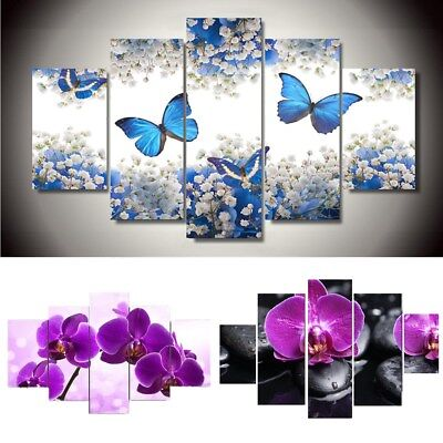 5pcs Flowers Abstract Canvas Print Painting Picture Wall Art Home Decor Framed