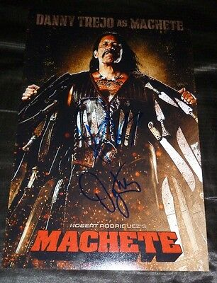 "DANNY TREJO & ROBERT RODRIGUEZ Authentic Hand-Signed ""MACHETE"" 11x17 Photo"