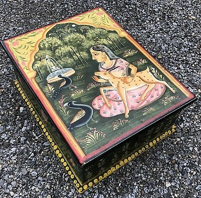 Folk Art Painted Primitive Wood Indian Asian Antique Wedding Document Box