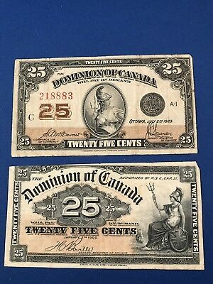 1900 & 1923 Dominion Of Canada 25 Cents Canadian Paper Money Banknote Currency