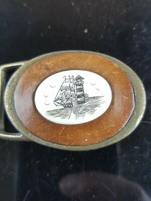 Vintage Soild Brass & Tooled Leather Belt Buckle Schrimshaw Ship & Lighthouse