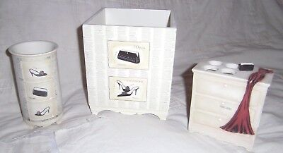 VOGUE Emily Adams 3pc Bathroom accessory set cup toothbrush holder tissue box