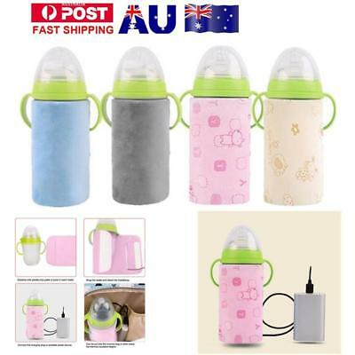 Baby Feeding Milk Bottle Warmer Portable Heating Outdoor USB Insulation Cover AU