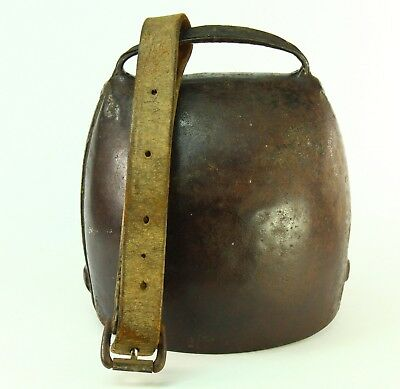 "! Antique 1700's HUGE 8"" Hand Hammered Wrought Iron Cowbell Cow Bell w. Leather"