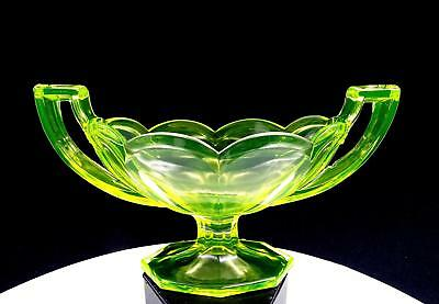 """Central Glass Works Yellow Krystol Colonial Vaseline Glass 5"""" Compote 1920"""
